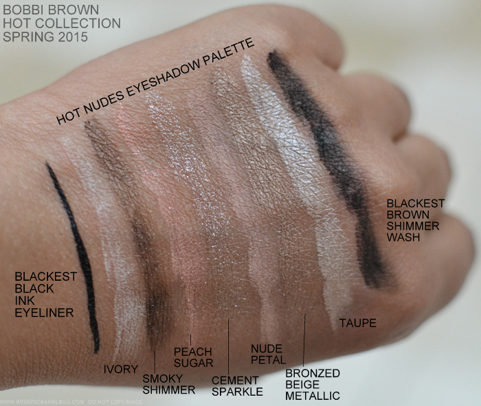 Bobbi Brown Kate Upton Hot Nudes Eyeshadow Palette Blackest Black Ink Eyeliner Pen Spring 2015 Makeup Collection Swatches