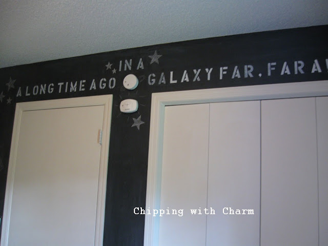 Chipping with Charm:  Chalkboard Star Wars Wall...http://www.chippingwithcharm.blogspot.com/