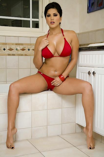 Sunny Leone In Red Hot Bikini indianudesi.com
