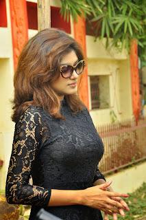 Oviya in Beautiful Black Tight Top Dress on Set of Tamil Movie Seeni