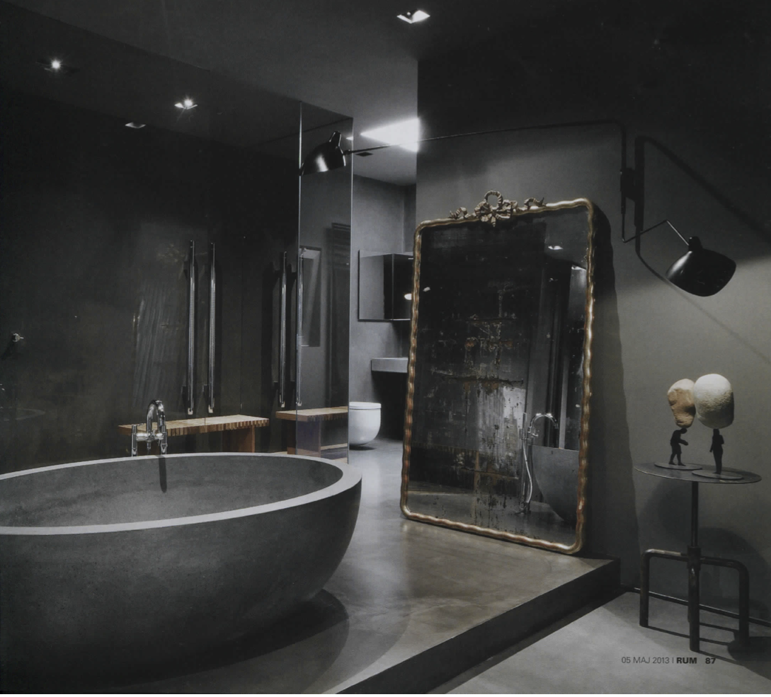 Rydeng s blog the home of fashion designer maurizio for Dark bathrooms design