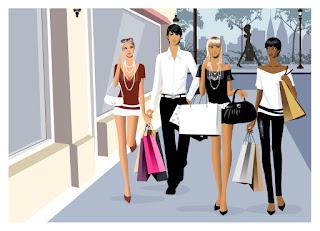 ショッピングを楽しむ若者 Men and women vector fashion shopping イラスト素材