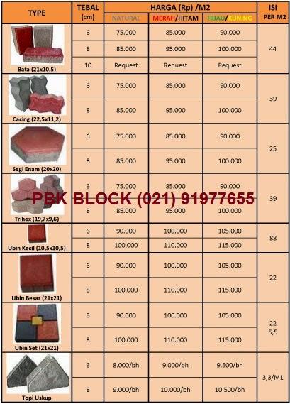Paving block / conblock - daftar Harga, Jual, Ukuran 2015