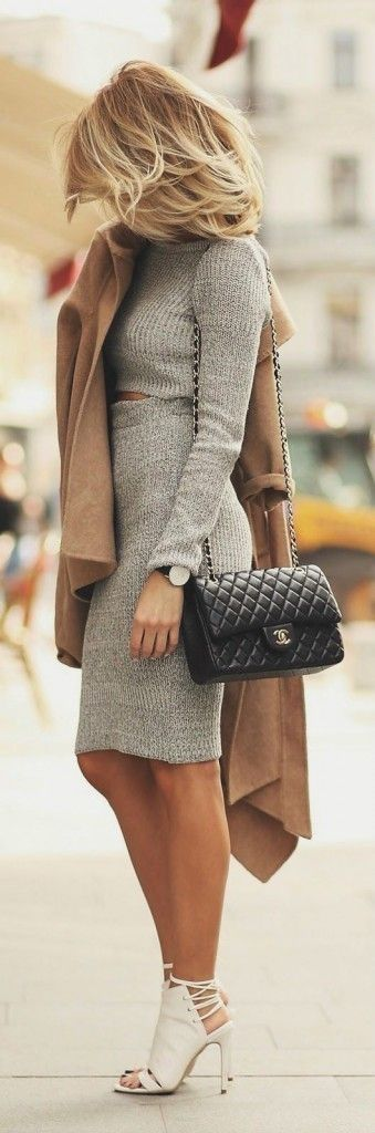 Gray knit skirt + top