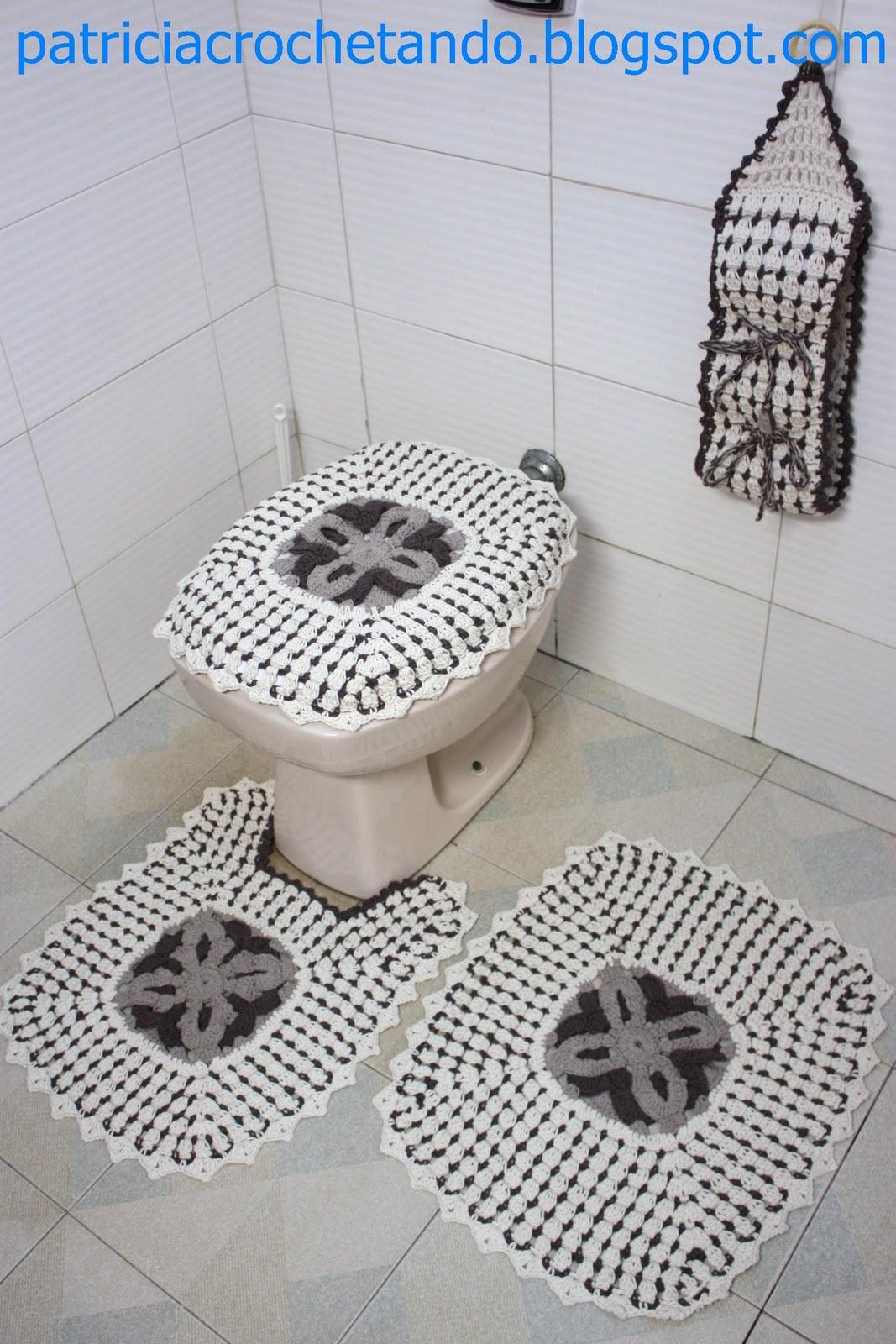 jogo de banheiro de croche marrom