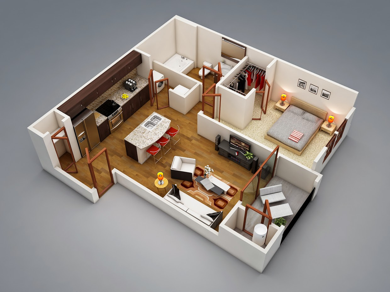 Interior Design Apartment/House Plans with 1 Bedroom