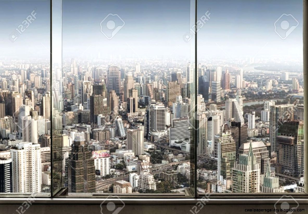Panoramic View Of Window And Nice Big City Stock Photo Picture