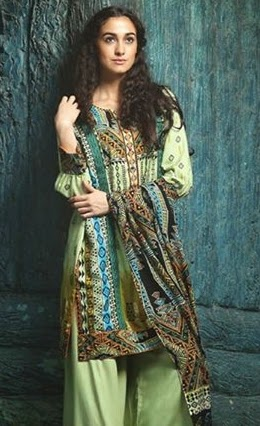 Firdous winter pashmina Shawl Dress 2014-15