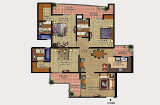 Livingston :: Floor Plans,Block D:- 3 BHK (Type D1)3 Bedroom, 3 Toilet, Kitchen, Dining, Drawing, 2 Dressing Room, 3 Balconies Super Area - 1975 Sq Ft
