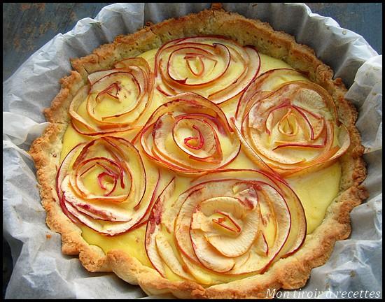 tarte pommes bouquet rose