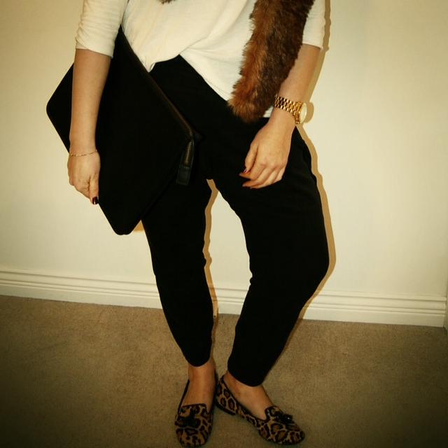 Faux fur stole and Topshop harem pants