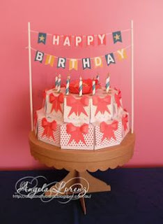 Angela Lorenz birthday cake -Zena Kennedy Independent Stampin Up Demonstrator, Australia