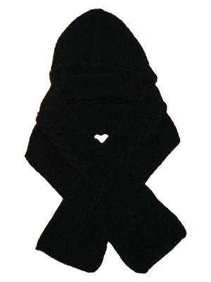 fular negru cu gluga tricotat manual