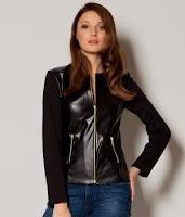 Jacheta de primavara din stofa si piele ecologica, de culoare neagra ( )
