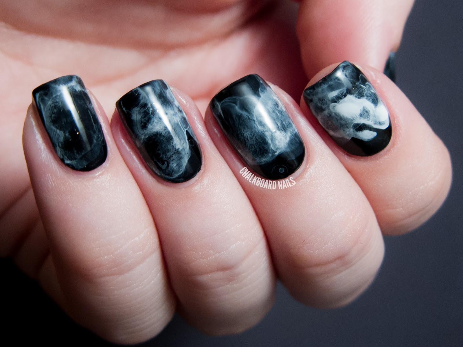 31DC2013 Day 07 Black And White Midnight Smoke Nail Art