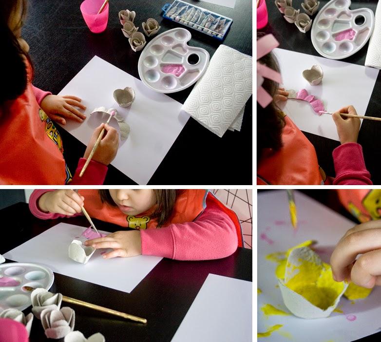 DiariodecoSpring: Diy flores con hueveras de cartón5