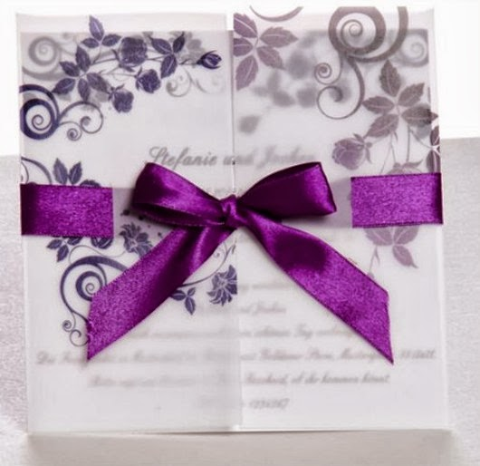 elegant purple ribbon wedding invite