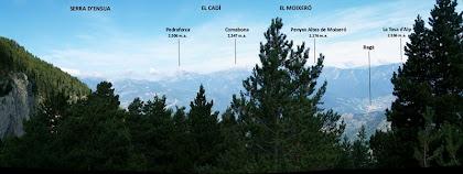 Panorama des de la Serra d'Ensija al Puigllançada des de la pista de Sant Romà de la Clusa