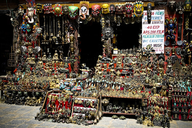 Swayambhunath trinket shop, souvenir stall, mask shop Nepal, handmade Nepali