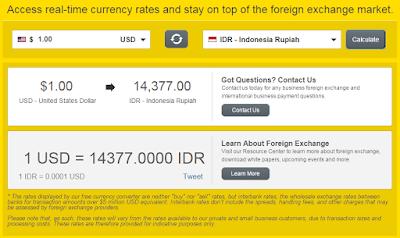 Melihat Nilai Kurs Rupiah Terhadap Dolar US di Western Union
