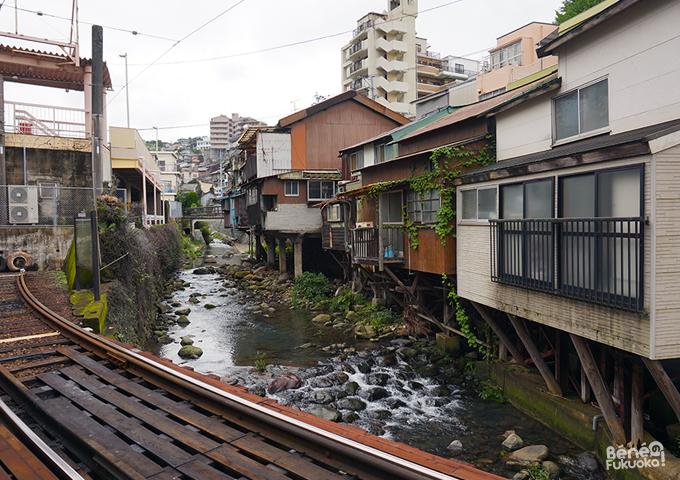 Vue depuis la station de tramway Shokakujishita, Nagasaki