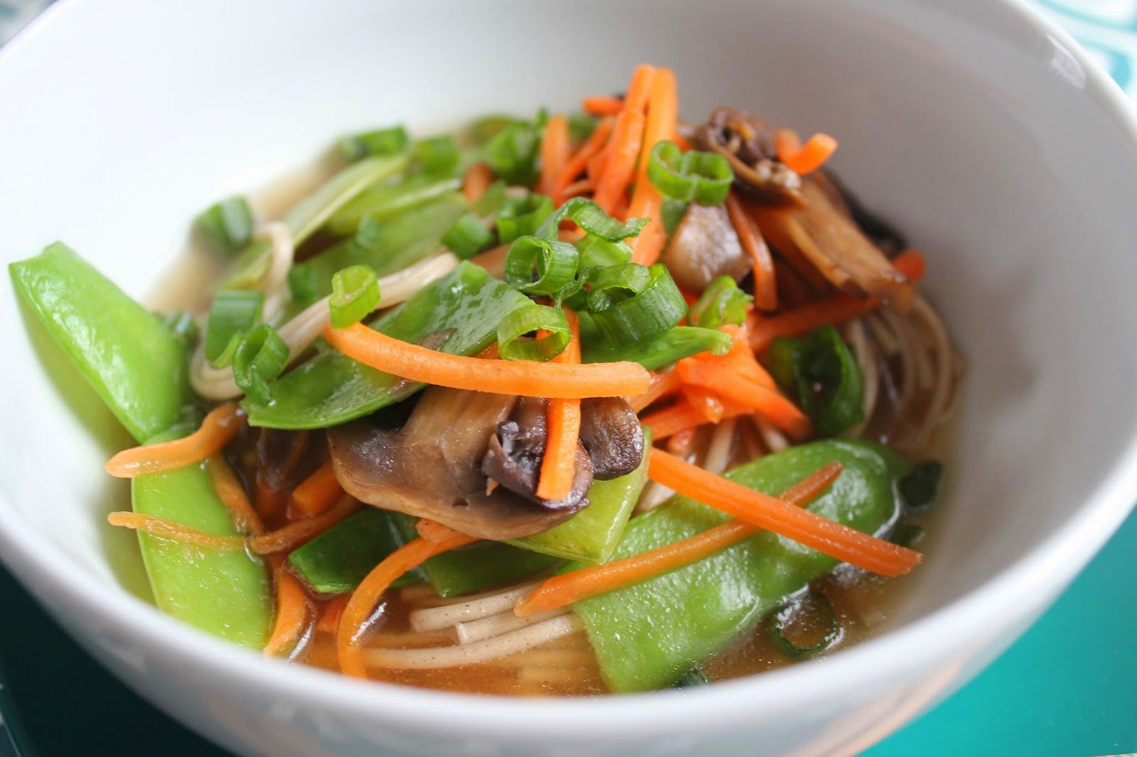 Soba noodle soup with ginger-scallion broth