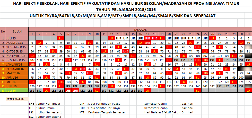 Kalender Pendidikan Tahun Pelajaran 2015-2016 Jawa Timur Excel