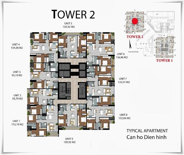 Thiết kế Tháp Tower 2 khu căn hộ Thảo Điền Pearl