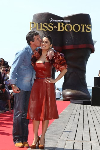 Antonio Banderas Salma Hayek Puss In Boots Cannes animatedfilmreviews.filminspector.com