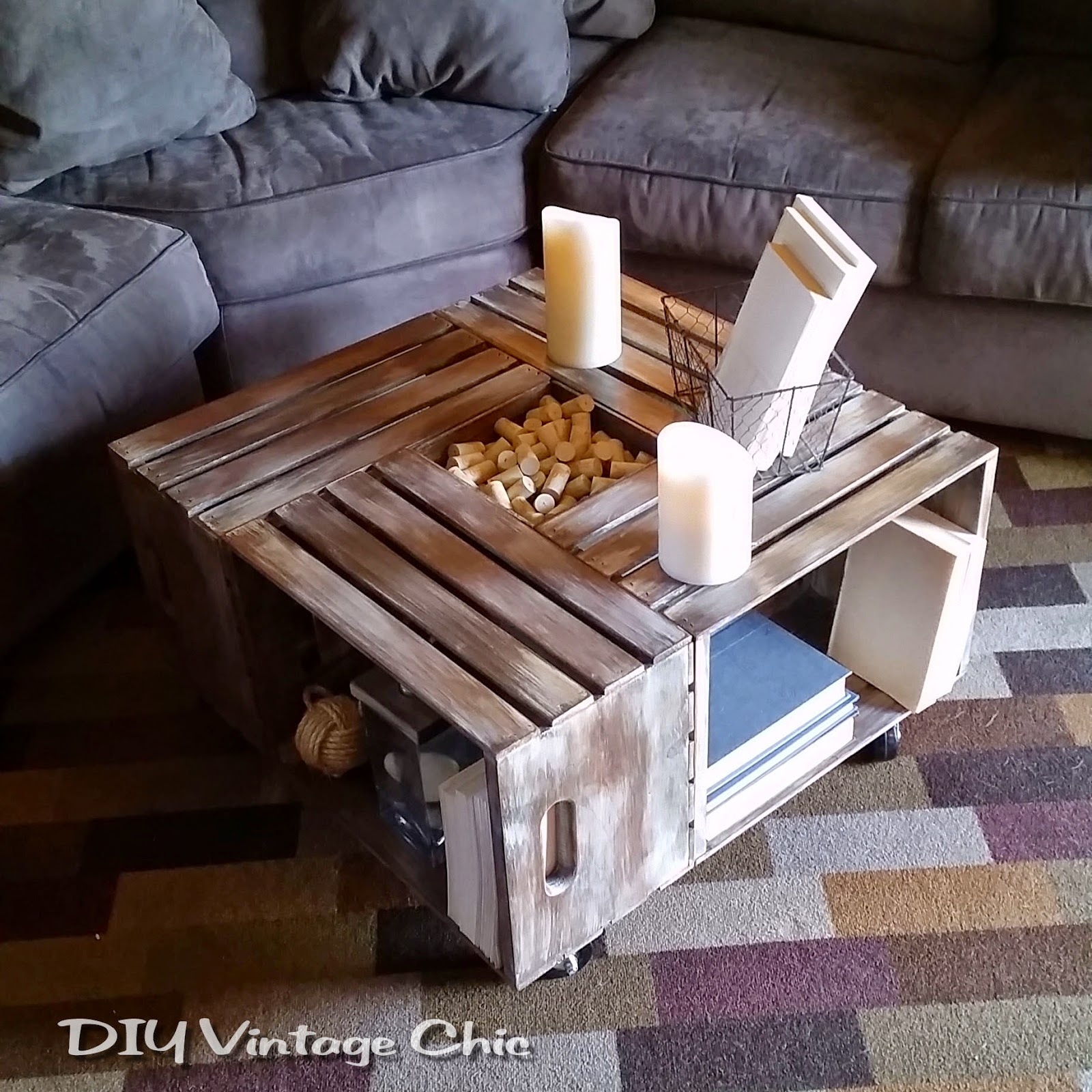 DIY Vintage Chic: DIY Vintage Wine Crate Coffee Table ~ Whitewash