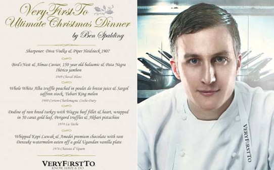 chef ben spalding with menu card of most expensive christmas dinner xmas