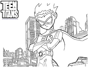 Teen Titans Go Coloring Pages Robin on Town