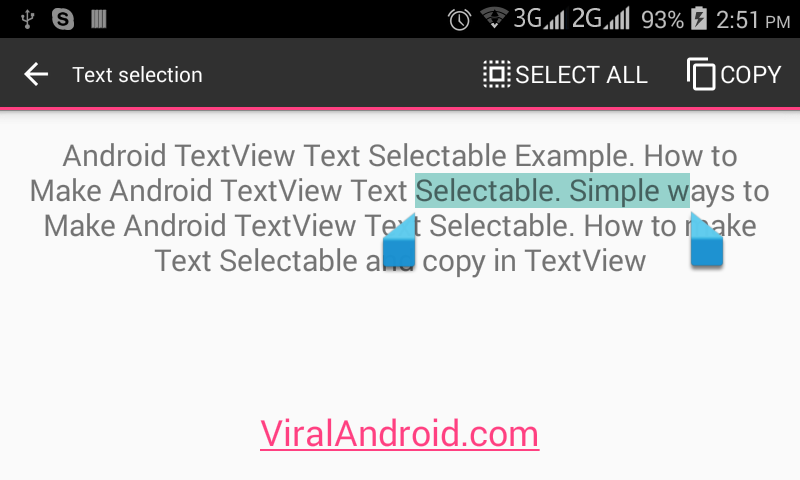 Android Example: How to Make Android TextView Text Selectable