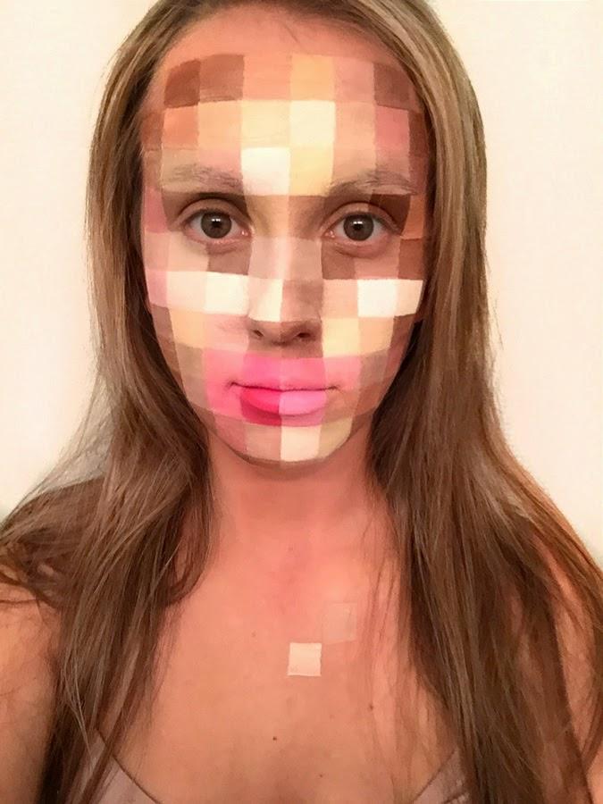 pixelated, face paint, halloween