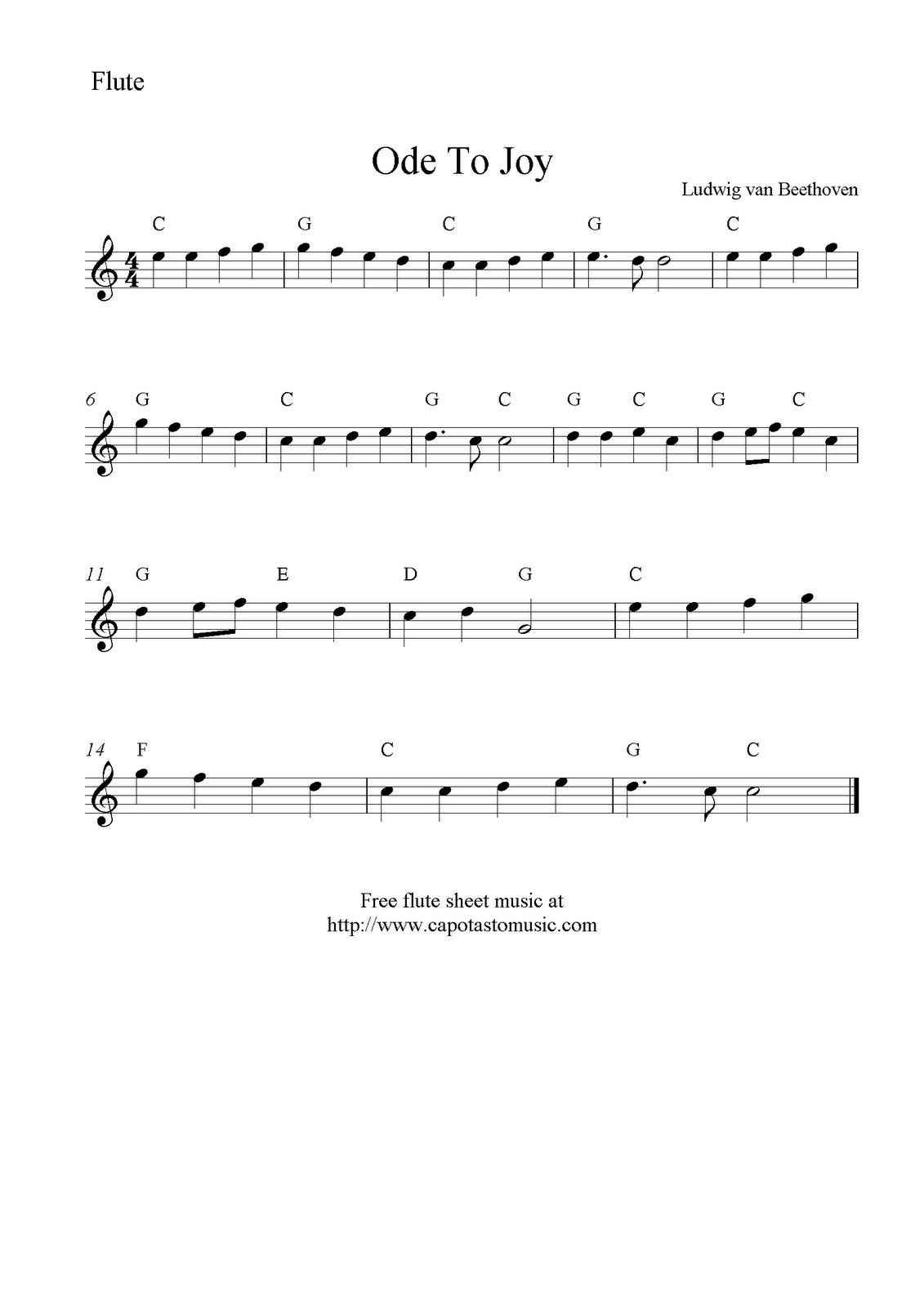 Ode to joy free flute sheet music notes