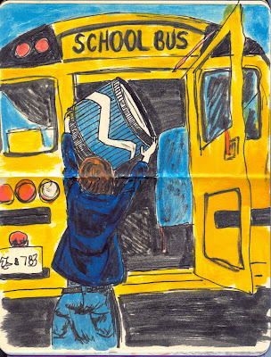 Kelly Packing the School Bus with Equipment - Watercolour and Ink by Ana Tirolese ©2012 - FunFact! http://www.FunFactMusic.com