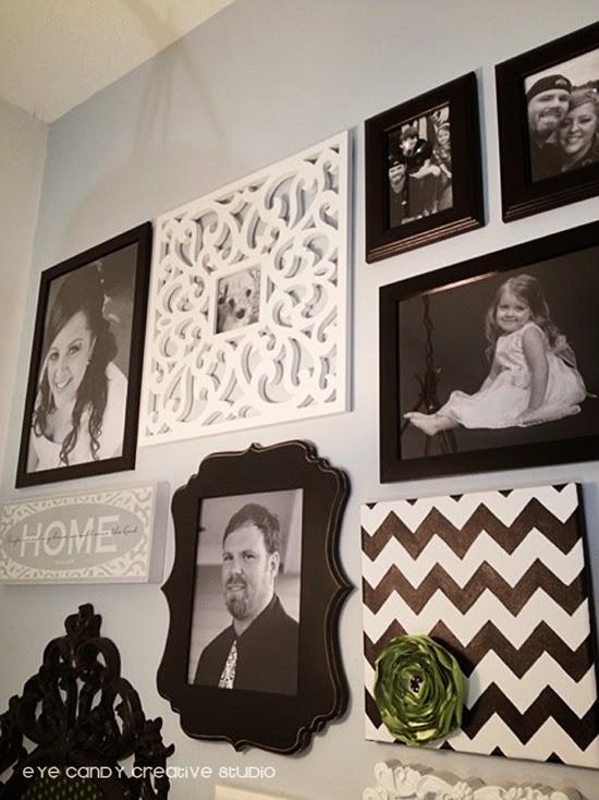 black and white photos, gallery wall, hanging photos, chevron art