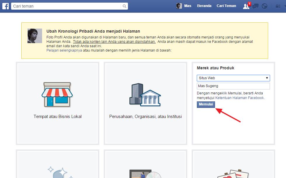 Merubah Profil Facebook Menjadi Fan Page
