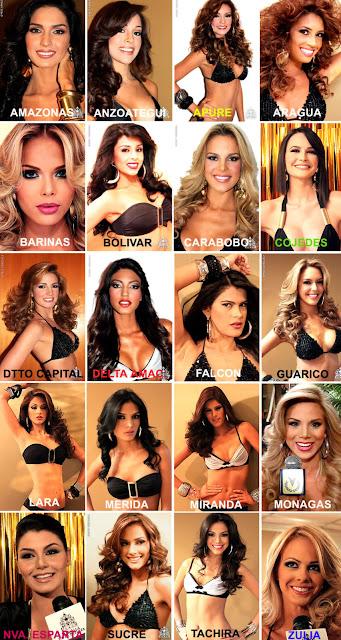 Miss Venezuela 2011, National Beauty Pageants, finalists