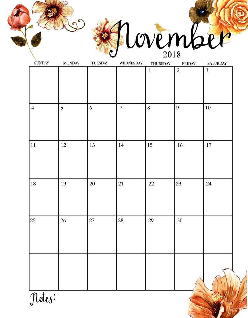 image about Free Printable November Calendar named Order Printable Calendar : November 2018 Printable Calendar