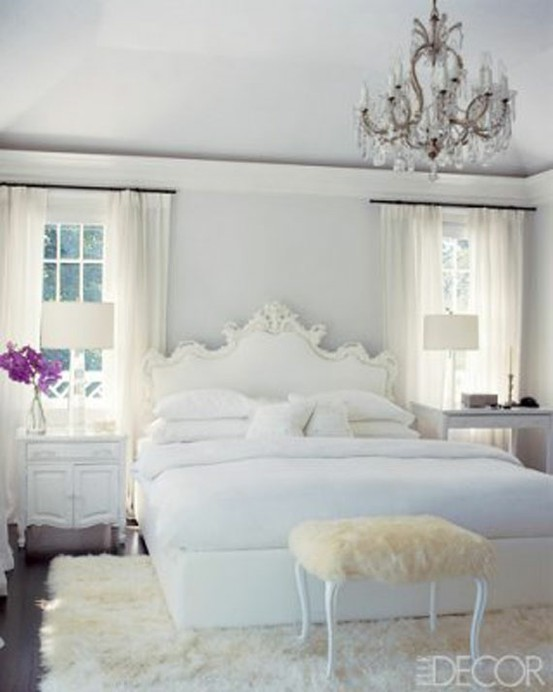 Glamorous white bedrooms for Black and white romantic bedroom ideas