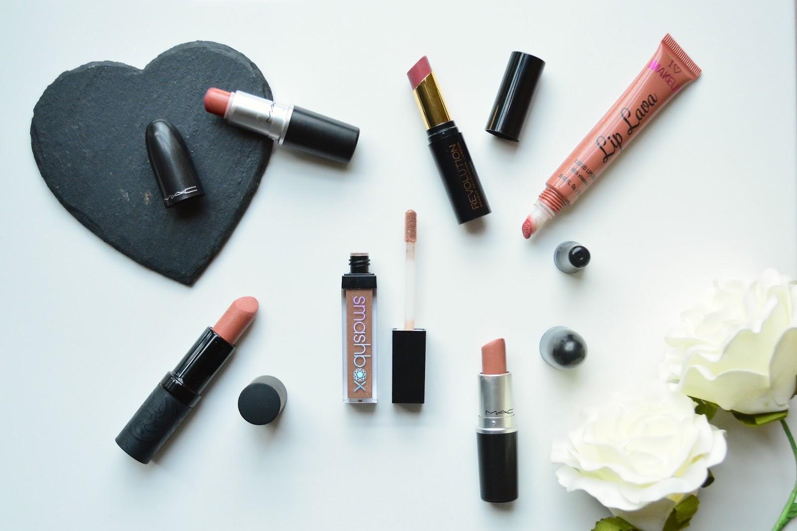 Mac, Mac Lipstick, MAC Velvet Teddy, Mac Honeylove, Makeup Revolution Lip Lava, Smashbox Lip Gloss Jewel, MeMeMe Persian Pink Lipstick, Nude Lipsticks, Makeup Revolution Lip Hug, Nude Lipstick Swatches
