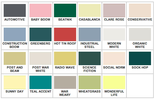 colors. Their mid-century modern color palette spans popular colors