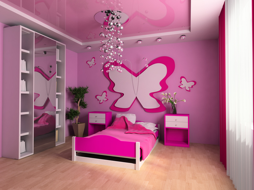 Dormitorio color rosa para ni a colores en casa - Decoracion para habitacion ...