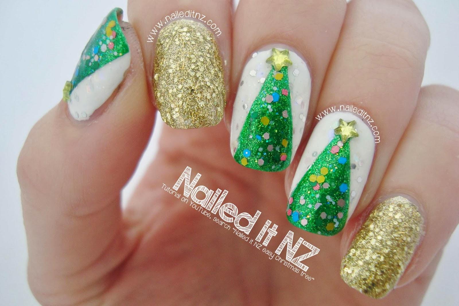 Easy Christmas Tree Nail Art Tutorial | 12 Days of Christmas nail ...
