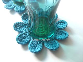 Crochet Flower Blue Coasters