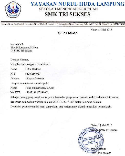 Contoh Surat Permohonan Kepala Sekolah dan Surat Kuasa untuk Pembelian Domain Sch.id