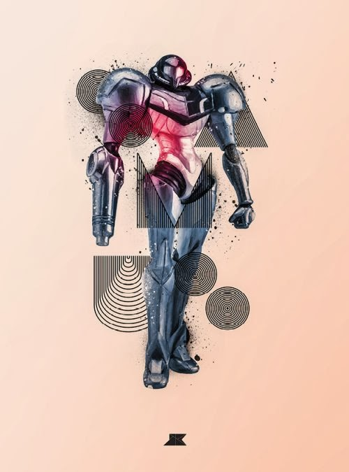 Josip Kelava typographic illustrations super heroes villains comics games movies Samus - Metroid