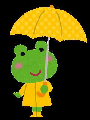 傘をさしたカエルのキャラクターのイラスト