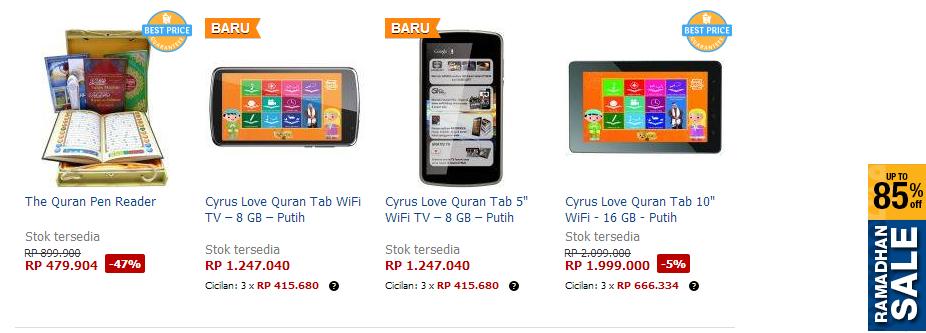 Produk E-Qur'an yang dijual Oleh Lazada